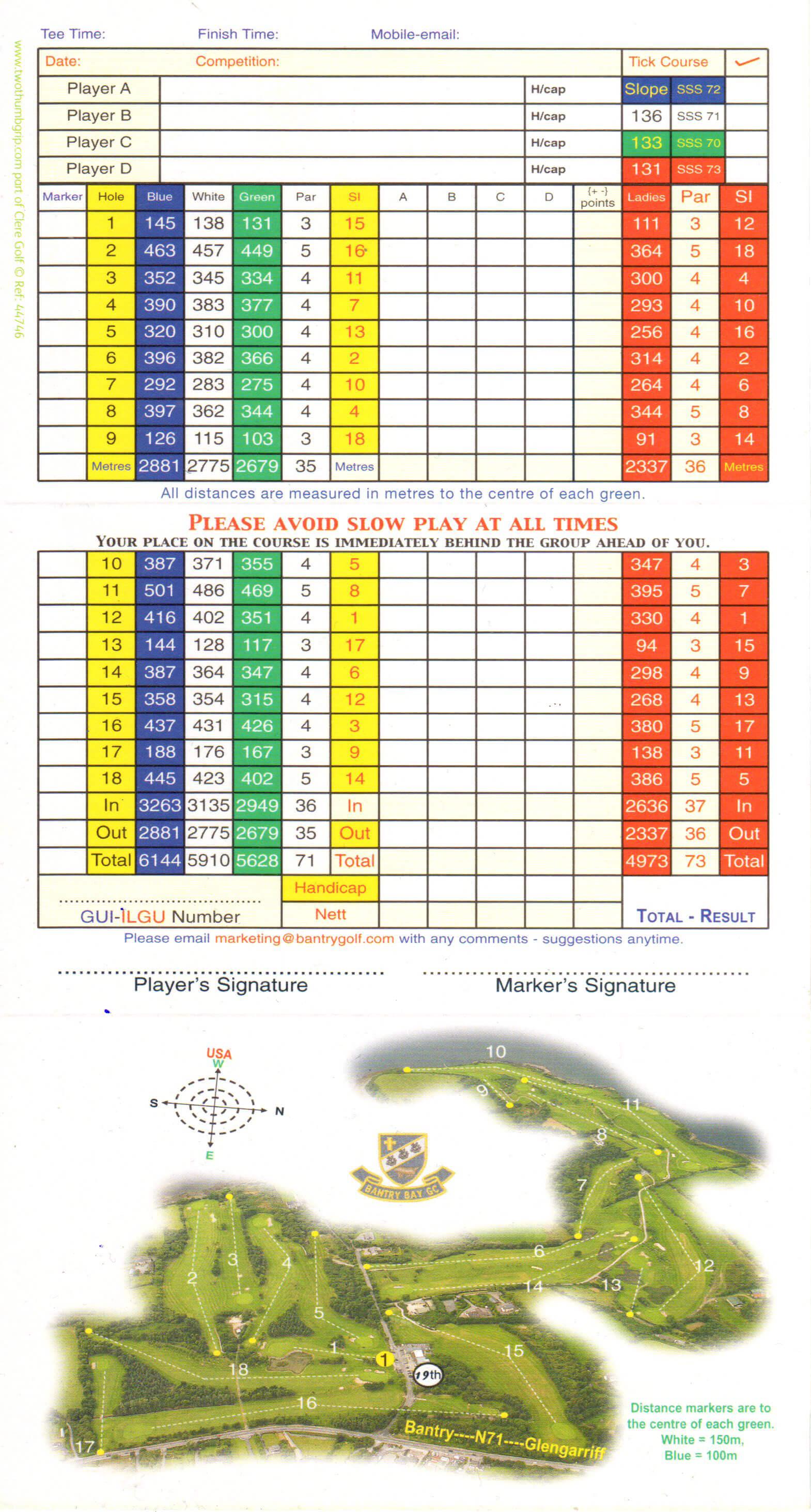 Bantry Bay Golf Club Score Card